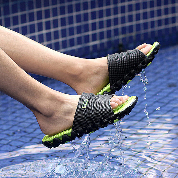 FootRevive Dual Layer Sports Massage Slippers - Black & Lime Green