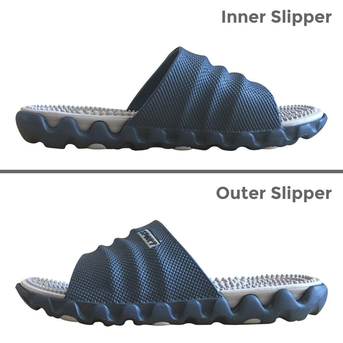 FootRevive Dual Layer Sports Massage Slippers - Navy & Grey