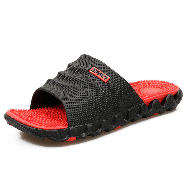 FootRevive Dual Layer Sports Massage Slippers - Black & Red