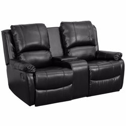 Allure Series Reclining Pillow Back Leather Theater Seating Unit with Cup Holder-Cave Room Furniture