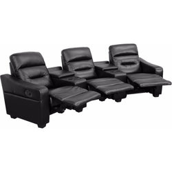 Futura Series 2 or 3 Seat Reclining Leather Theater Seating Unit with Cup Holders-Cave Room Furniture