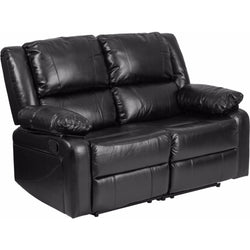 Harmony Series Black Leather Loveseat with Two Built-In Recliners-Cave Room Furniture