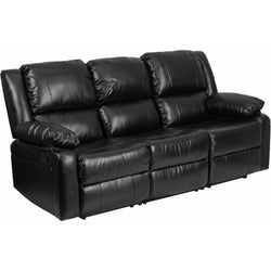 Harmony Series Black Leather Sofa with Two Built-In Recliners-Cave Room Furniture