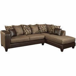 Riverstone Object Espresso Chenille Sectional-Cave Room Furniture