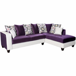Riverstone Implosion Purple Velvet Sectional-Cave Room Furniture