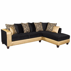 Riverstone Implosion Black Velvet and Gold Vinyl Sectional-Cave Room Furniture
