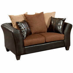 Riverstone Sierra Chocolate Microfiber Loveseat-Cave Room Furniture