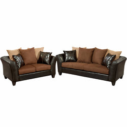 Riverstone Sierra Chocolate Microfiber Living Room Set-Cave Room Furniture