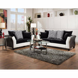 Riverstone Implosion Black Velvet Living Room Set