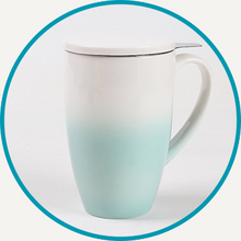 Load image into Gallery viewer, Celadon Green Horizon Mug with Infuser & Lid