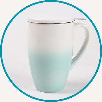 Celadon Green Horizon Mug with Infuser & Lid