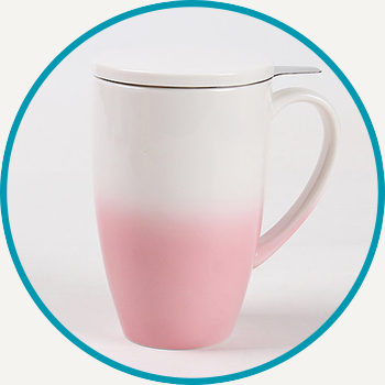 Pink Horizon Mug with Infuser & Lid