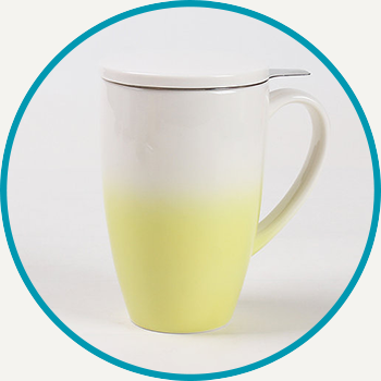 Yellow Horizon Mug with Infuser & Lid
