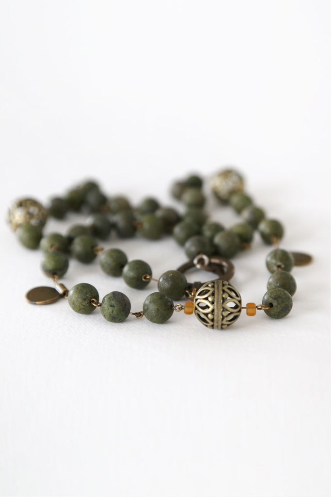Green Jasper Stone Necklace