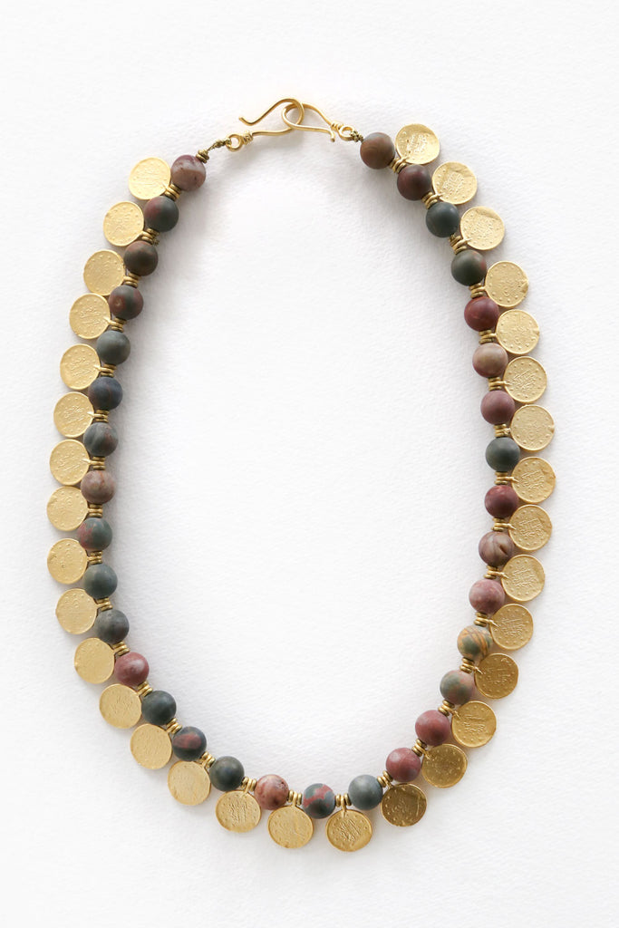 Jasper Stone and Gold Coins Necklace