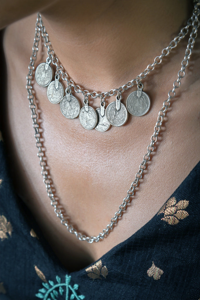 Silver necklace with coins