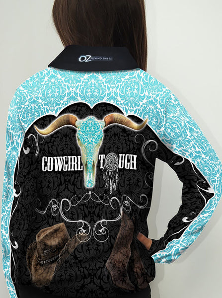 Cowgirl Tough Turquoise   -Fishing shirt -quick dry - uv rated