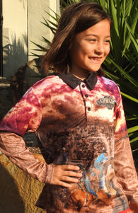 Kids Wear Cowgirl -Fishing shirt -quick dry - uv rated
