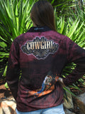 Maroon Cowgirl -Fishing shirt -quick dry - uv rated