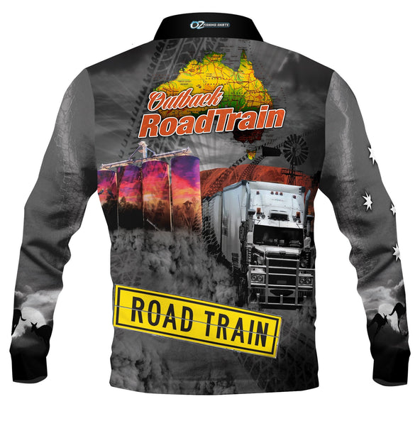 Outback Roadtrain Black   -Fishing shirt -quick dry - uv rated