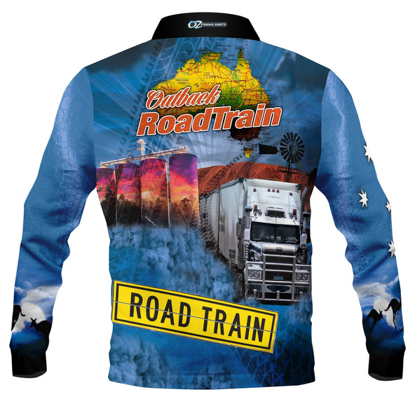 Outback Roadtrain Blue    -Fishing shirt -quick dry - uv rated