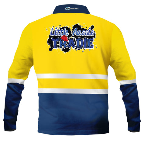Kids wear Little Aussie tradie Yellow -Fishing shirt -Quick dry - Uv rated