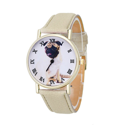 Newly Design dames horloges Dog Pug Watch Women Girl PU Leather Quartz Wrist Watches Gofuly ladies watch