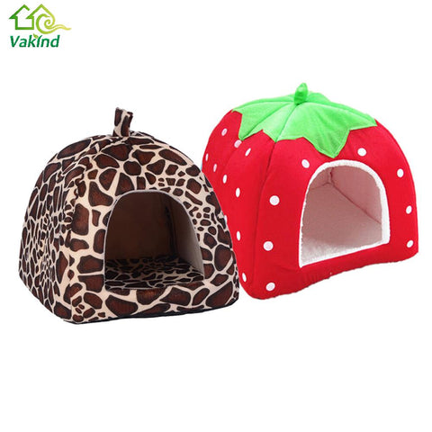 Soft Cat House Foldable Leopard Strawberry Dog Bed Animal Cave Nest Puppy Dog Kennel Cute Pet Cat Dog House High Quality