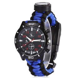 6 in 1 Outdoor Camping Survival Watch Tactical Compass Bracelet  Paracord Thermometer Whistle Multifunction Band