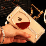 LOVECOM For iPhone 6 6S 7 Plus Phone Case Red Wine Liquid Quicksand Transparent Clear Hard Back Cover For iPhone 5 5S SE 5C