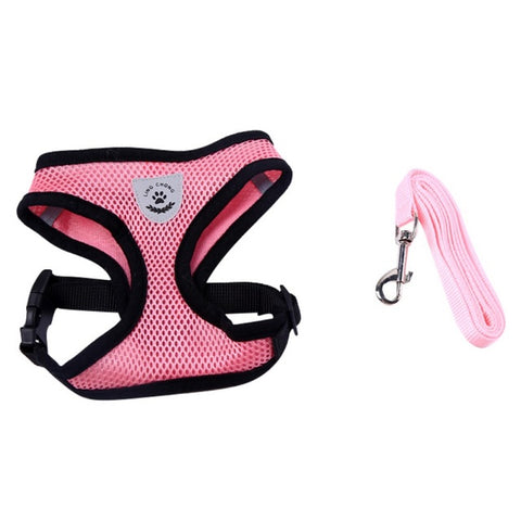 Breathable Mesh Small Pets Puppy Harness and Leash Set Puppy Vest Pink Red Blue Black For Chihuahua Pets Dog Harnesses 4 Colors