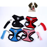 Breathable Mesh Small Dog Pet Harness and Leash Set Puppy Vest Pink Red Blue Black For Chihuahua Ling Chong Pet Dog Leads Chest