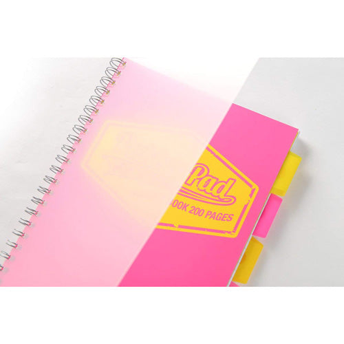 Pukka Pad, A4  Pink Neon Project Book with 5 Movable Dividers