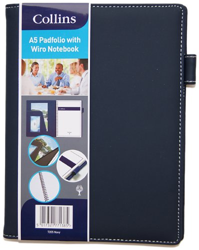 Collins A5 Pad Folio/Wiro Notebook - Blue