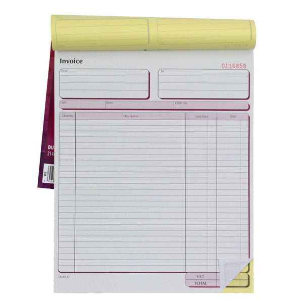 Large Duplicate Invoice Book With Carbon - 214x273mm