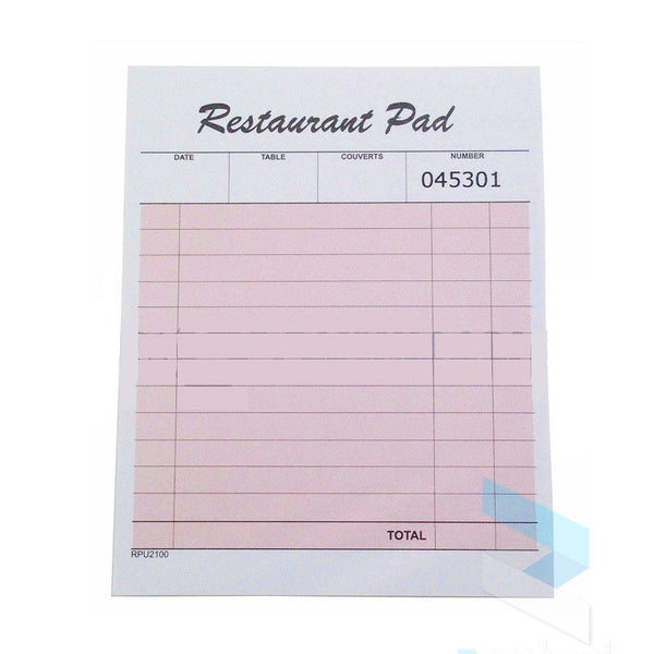 Numbered Restaurant Waiter Order Pad