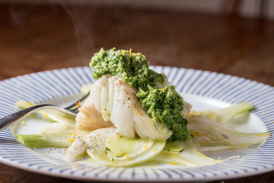 Seared Cod with Sauce Vierge and Soused Fennel