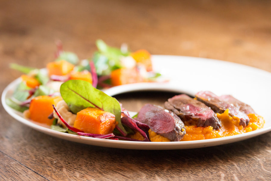 Pigeon and Pumkin Salad with Sherry Cult Vinegar Dressing