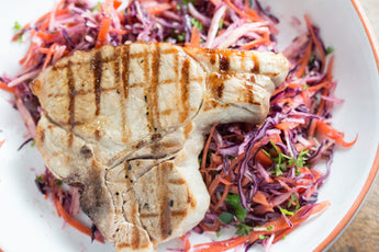 Pork T-Bone with Cider Vinegar Winter Slaw