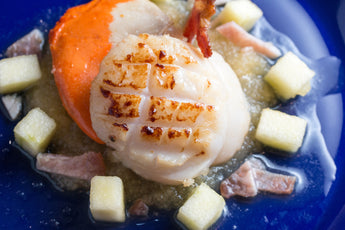 Scallops and Bacon with Cider Vinegar Apples