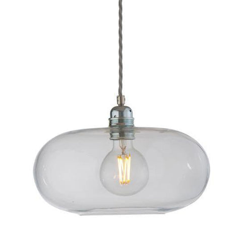 Horizon pendant lamp, Ø29cm, clear with silver