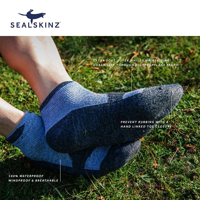 SealSkinz Thin Socklet Olive Marl//Charcoal S Waterproof /& Breathable