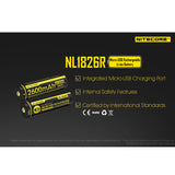 Nitecore NL1826R 2600mAh Micro-USB Rechargeable Battery 充電池