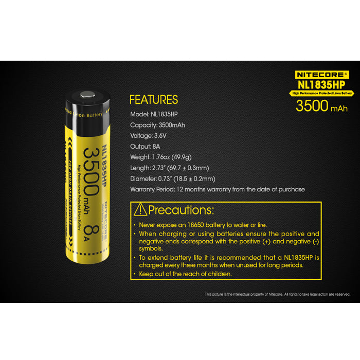 Nitecore NL1835HP 3500mAh High Drain Rechargeable Battery 充電池