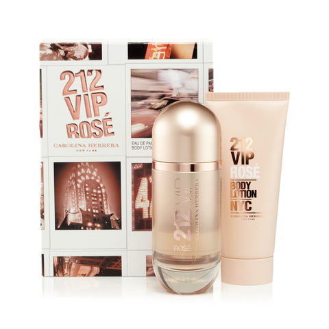 212 Vip Rose Gift Set EDP and Body Lotion for Women by Carolina Herrera 2.7 oz.