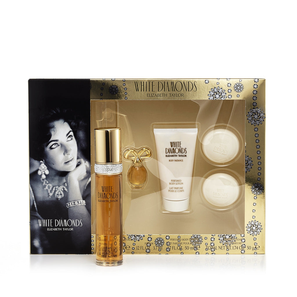 White Diamonds Gift Set Eau de Toilette Body Lotion Mini Soap for Women by Elizabeth Taylor 1.7 oz.