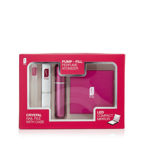 Refillable Fragrance Atomizer Gift Set by Flo Hot Pink
