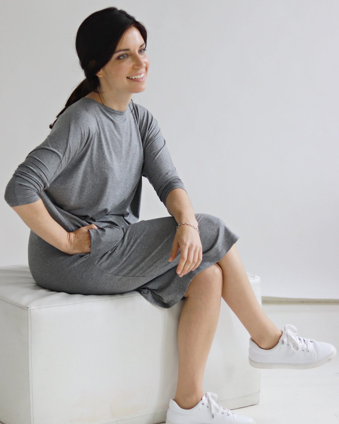 Yaffa Grey Melange Dress - Sarah Feldman Cape Town