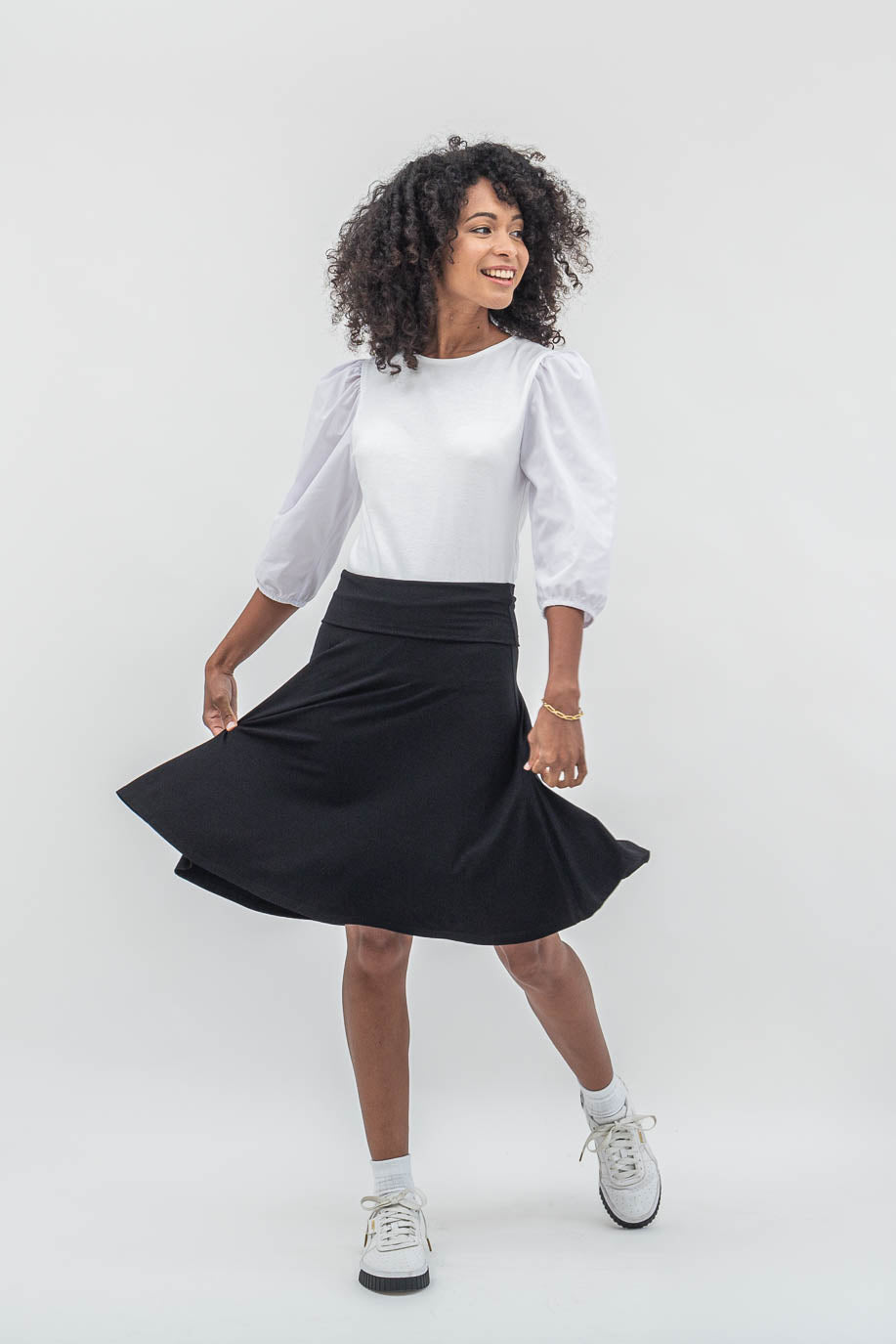 SF Foldover Black/ Navy Skirt - Sarah Feldman Modest Clothing