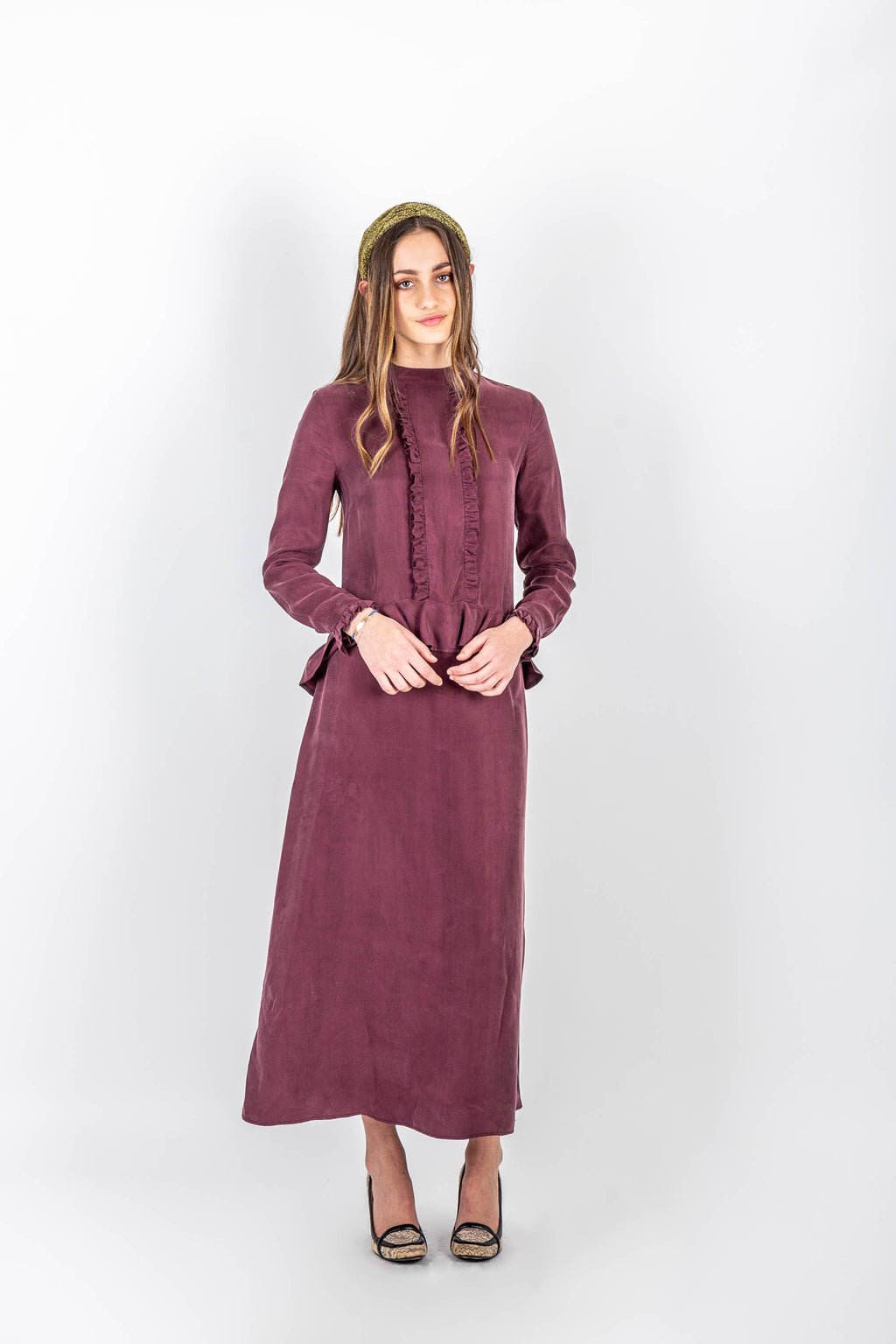 Sapphira Mulberry Frill Dress - Sarah Feldman Modest Clothing